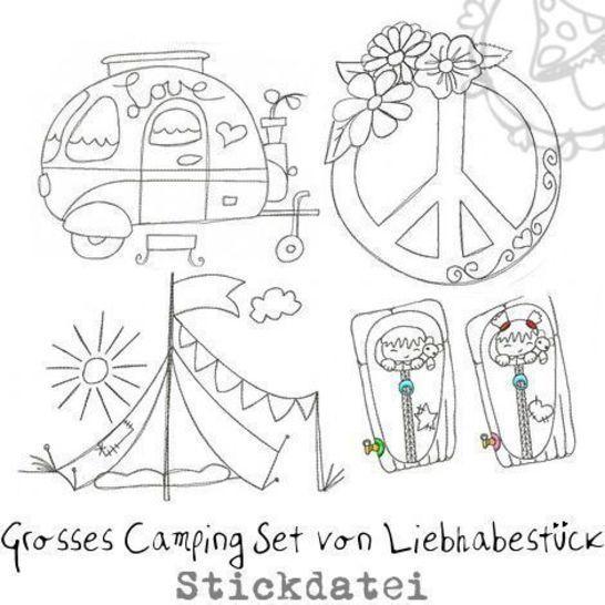 Grosses doodle Stickdateien Camping Set bei Makerist - Bild 1