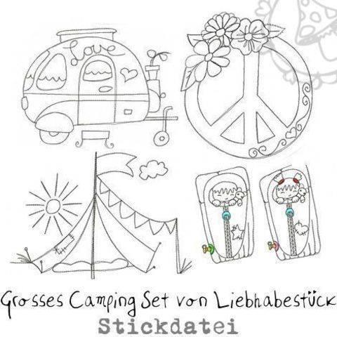 Grosses doodle Stickdateien Camping Set