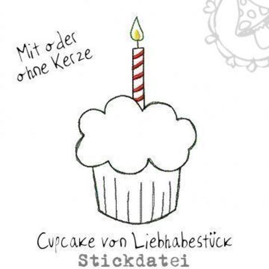 Kleiner Doodle Cupcake, Stickdatei mit oder ohne Kerze bei Makerist - Bild 1
