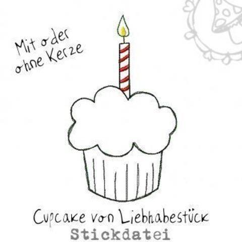 Kleiner Doodle Cupcake, Stickdatei mit oder ohne Kerze