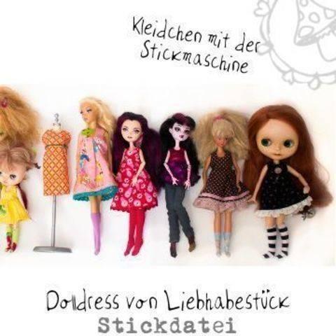 Stickdatei Dolldress, Kleidung für Modepuppen zum Teil ITH gestickt