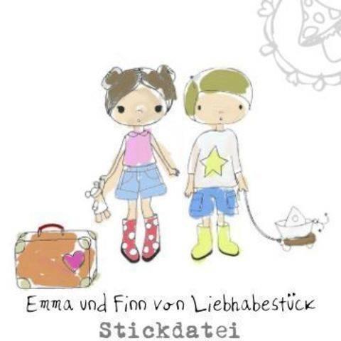 Doodle Stickdatei Emma und Finn, stick über deinen Rahmen hinaus