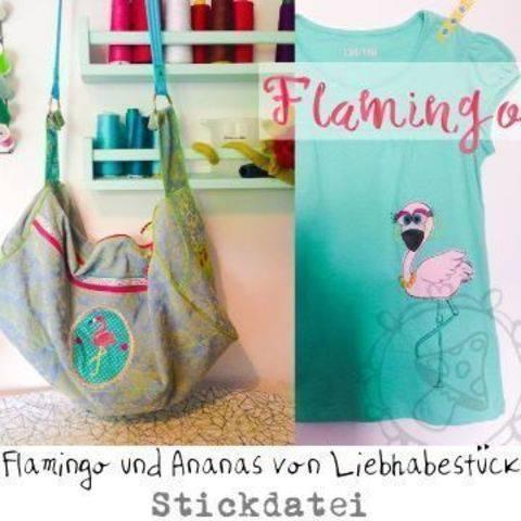 Doodle Stickdateienset Flamingo und Ananas, Stick über deine Rahmengröße hinaus