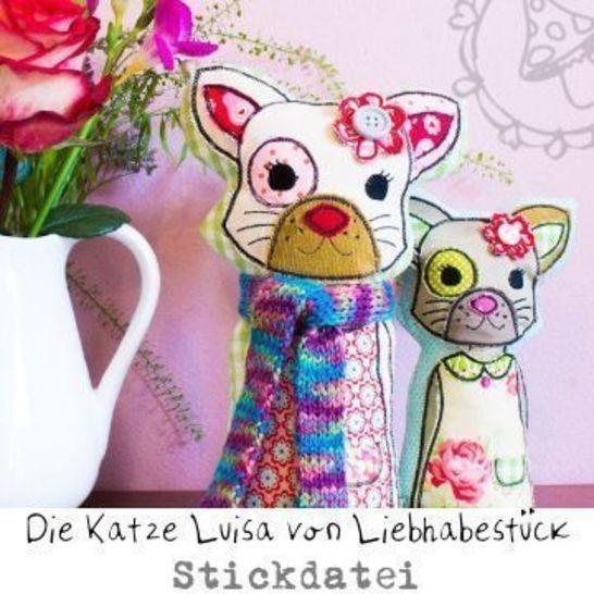 Doodle Stickdatei die Katze Luisa, Stick über deine Rahmengröße hinaus bei Makerist - Bild 1