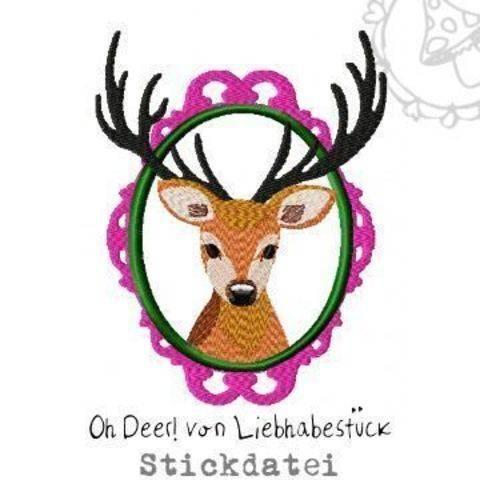 Oh Deer! Stickdatei mit überlagerten Bereichen.