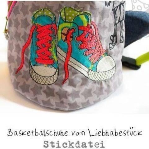 Stickdatei Basketballschuhe in 3 verschiedenen Größen und Versionen
