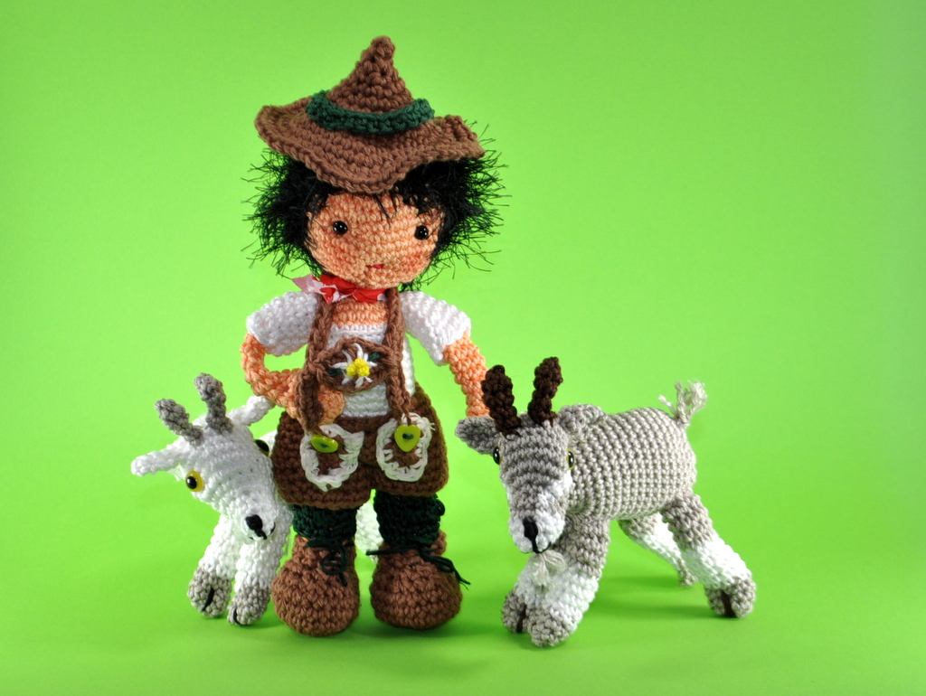 doll Peter (from Heidi)with goats crochet pattern