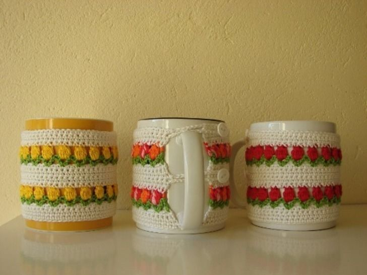 mug cosy flowers - crochet pattern - spring tulips at Makerist - Image 1