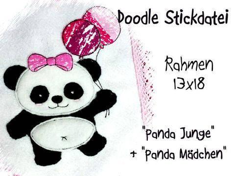 Stickdatei Panda Balloon 13x18 Doodle