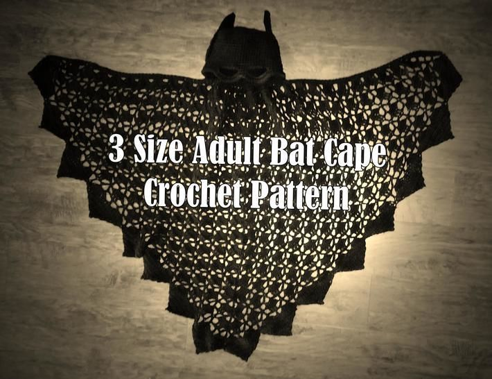 3 Sizes Adult Bat Cape Crochet PATTERN – PDF at Makerist - Image 1