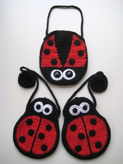 Crochet bags, Two Ladybirds Mummy and Baby, Pattern No6, in both UK and US crochet terms at Makerist - Image 1
