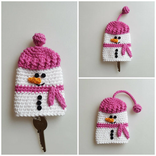 Crochet Snowman Keycosy, Keycozy, Keycover, Pattern No26, in both UK and US crochet terms at Makerist - Image 1