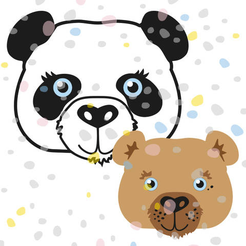 Plottermotiv Panda und Bär