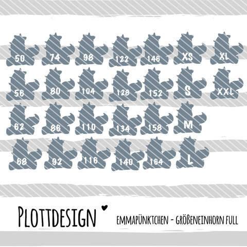 emmapünktchen ® - plotterdatei größeneinhorn full bei Makerist