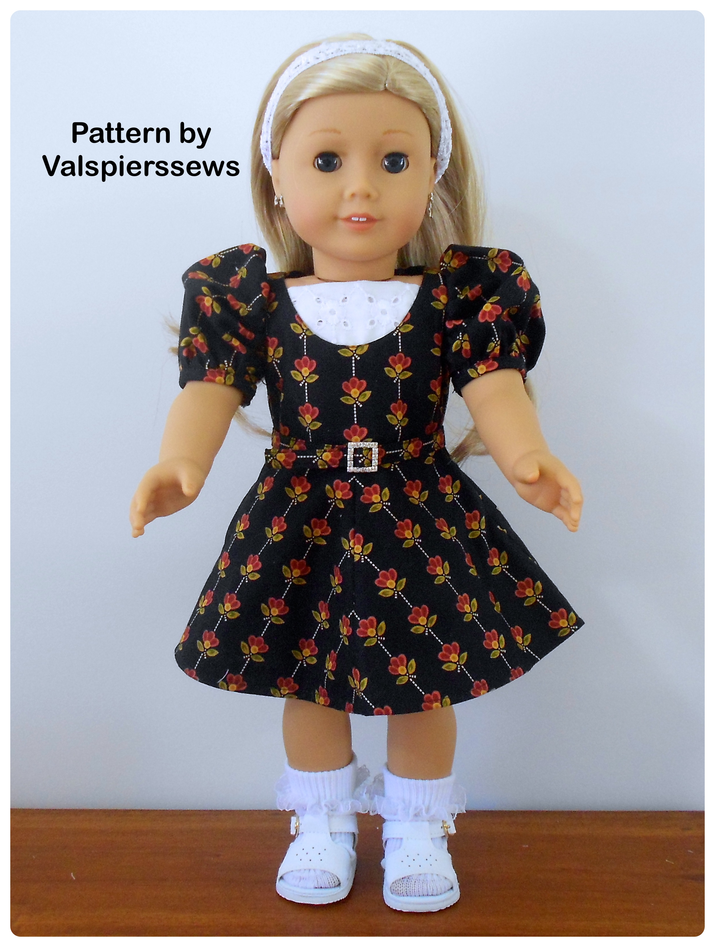 Scoop Neck 1/2 Circle Skirt Doll Clothes Dress