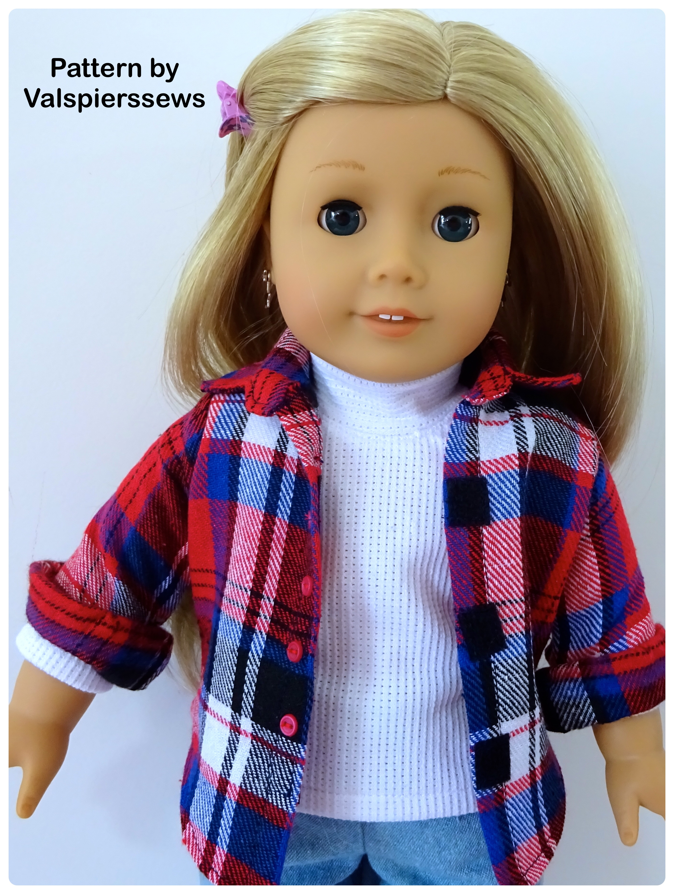 """Everyday Button Up Shirt with Collar and Stand Fits 18"""" Dolls"""
