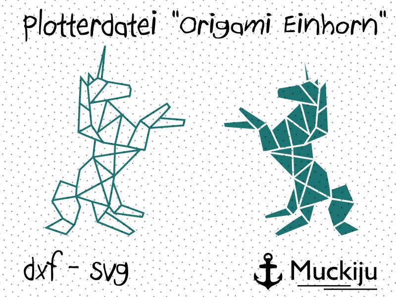 "Plotterdatei ""Origami Einhorn"""