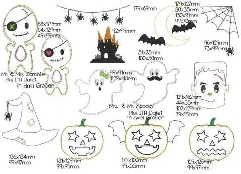 Stickdatei - Halloween Doodle incl. 5 ITH Dateien in PES