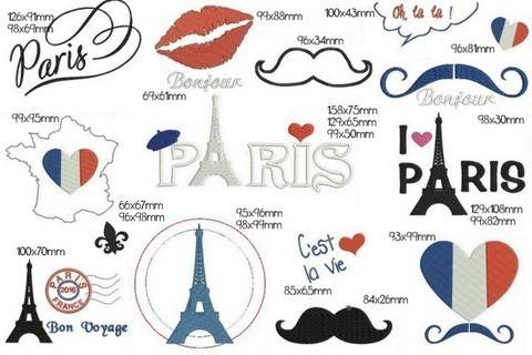 Stickdatei - Paris Paris in PES bei Makerist