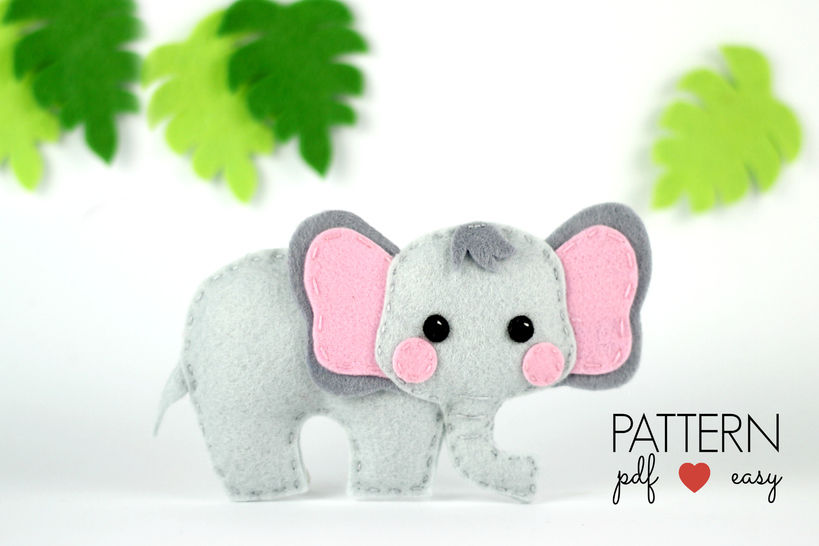 Felt Elephant Pattern - Elephant Sewing Pattern  at Makerist - Image 1