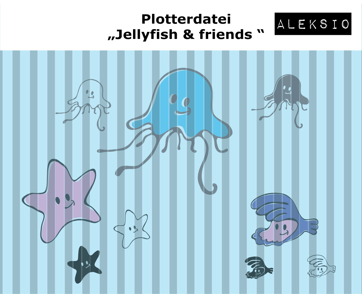 Plotterdatei Jellyfish and Friends Set