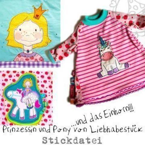 Doodle Stickdatei Prinzessin und Pony ....und das Einhorn