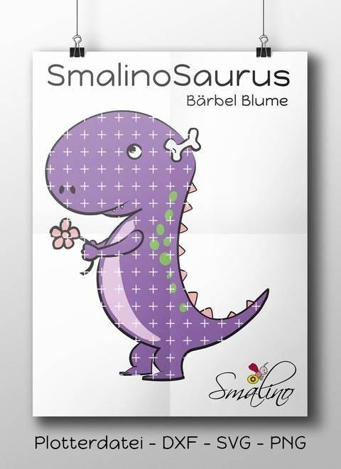 SmalinoSaurus Plottervorlage Bärbel Blume bis zu 6-farbig DXF SVG PNG
