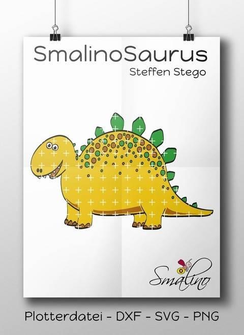 SmalinoSaurus Plottervorlage Steffen Stego bis zu 5-farbig DXF SVG PNG
