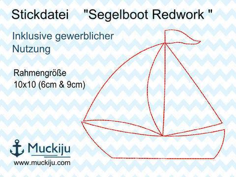 Stickdatei Segelboot 10x10 Redwork