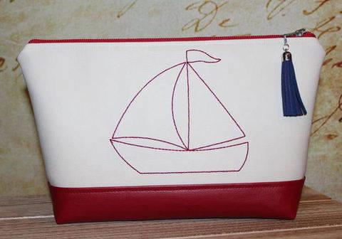 Stickdatei 13x18 Segelboot Redwork