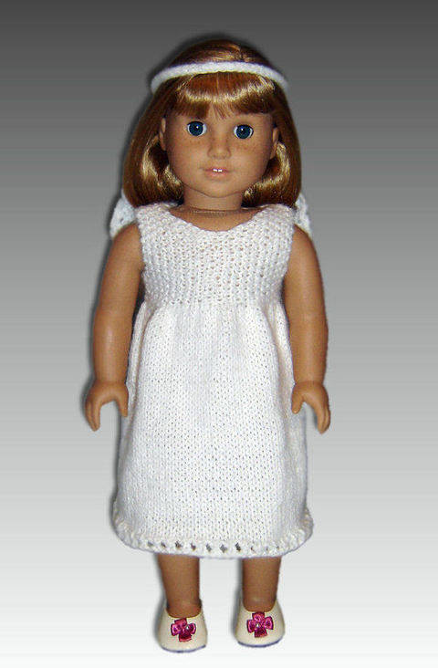 18 inch doll, first communion dress.