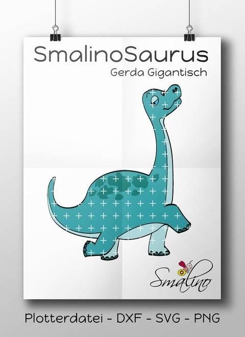 SmalinoSaurus Plottervorlage Gerda Gigantisch bis zu 5-farbig DXF SVG PNG