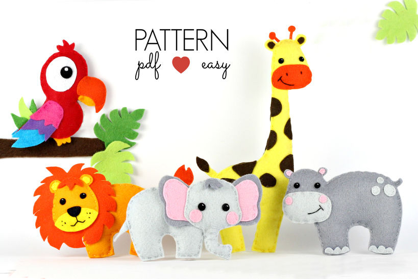 Felt Animal Pattern Set - Safari Pattern - Jungle Toy Pattern  at Makerist - Image 1