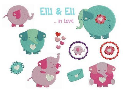 Stickdatei Elli & Eli in Love Füllstich in PES