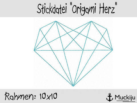 Stickdatei 10x10 Origami Herz Redwork