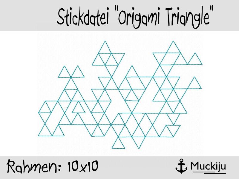 Stickdatei 10x10 Origami Triangle Redwork