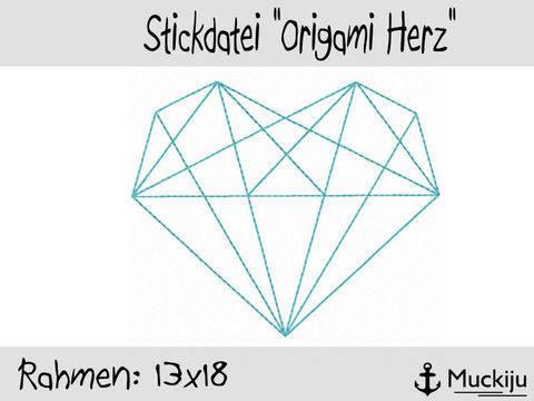 Stickdatei 13x18 Origami Herz Redwork bei Makerist