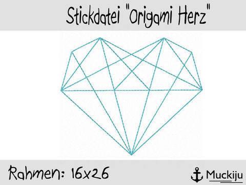 Stickdatei 16x26 Origami Herz Redwork