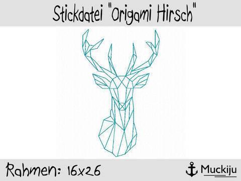 Stickdatei 16x26 Origami Hirsch Redwork