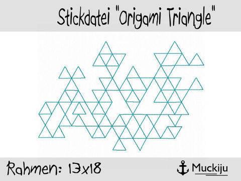 Stickdatei 13x18 Origami Triangle Redwork