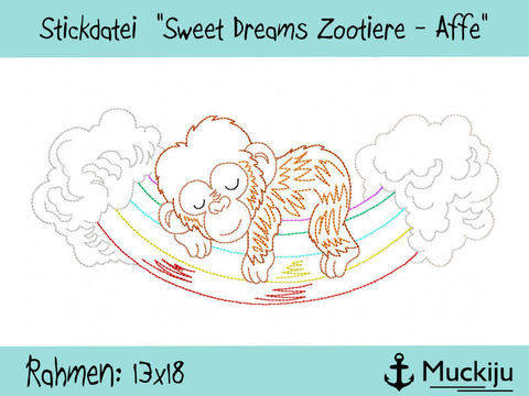 "Stickdatei 13x18 ""Affe - Sweet Dreams Zootiere"" Redwork"