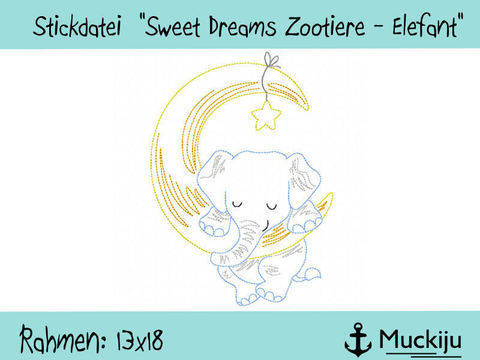 "Stickdatei 13x18 ""Elefant - Sweet Dreams Zootiere"" Redwork"