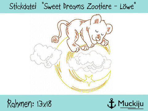 "Stickdatei 13x18 ""Löwe - Sweet Dreams Zootiere"" Redwork"