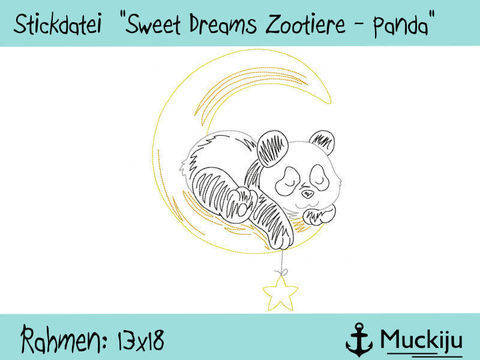 "Stickdatei 13x18 ""Panda - Sweet Dreams Zootiere"" Redwork bei Makerist"