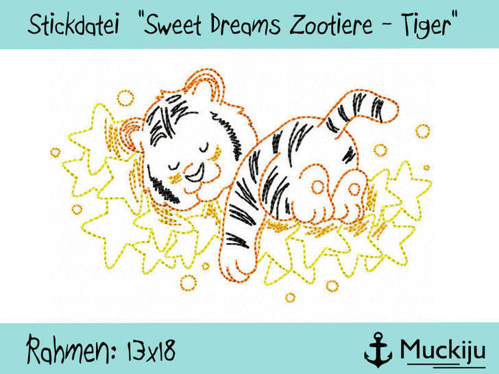 """Stickdatei 13x18 """"Tiger - Sweet Dreams Zootiere"""" Redwork bei Makerist - Bild 1"""