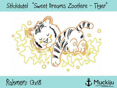 "Stickdatei 13x18 ""Tiger - Sweet Dreams Zootiere"" Redwork bei Makerist"
