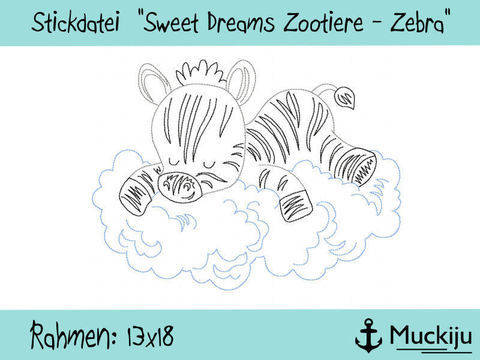 "Stickdatei 13x18 ""Zebra - Sweet Dreams Zootiere"" Redwork bei Makerist"
