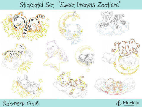 "Stickdatei Set 13x18 ""Sweet Dreams Zootiere"" (10 Motive) Redwork bei Makerist"