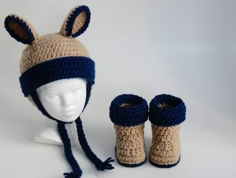 Baby Hat Booties with Ear Flaps and Ears #100B at Makerist