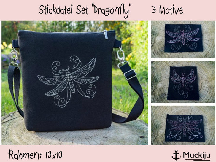 "Stickdatei Set 10x10 ""Dragonfly"" Libellen Redwork bei Makerist - Bild 1"